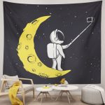 Astronauts Tapestry Moon Interesting Autodyne Personalized Wall Hanging