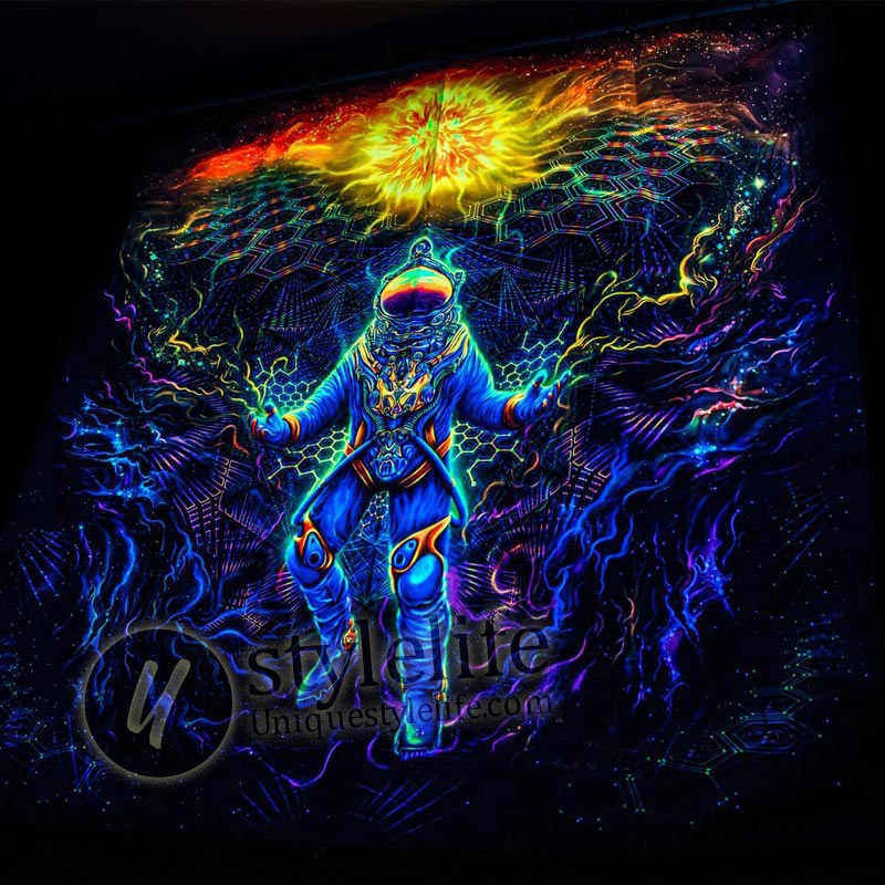 Backdrop Astronaut Psychedelic Blacklight Tapestry