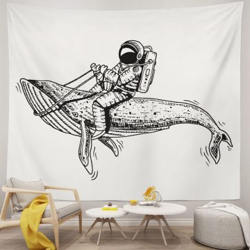 Cheap Space Whale Astronaut Tapestry Wall Decor Art