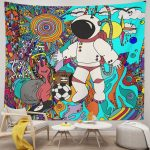 Cool Astronaut Psychedelic Tribal Ethnic Flowers Abstract Doodle Tapestry