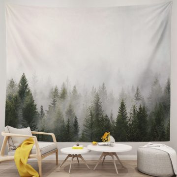 Cool Grey Smoky Forest Nature Tapestry
