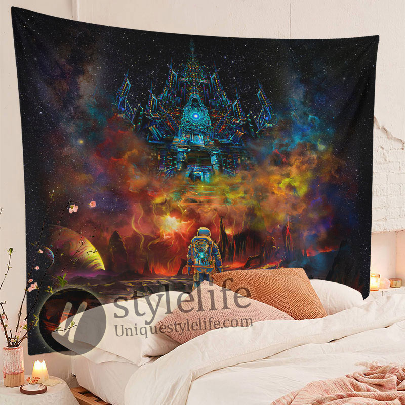 Cool Lost Astronaut Uv Blacklight Fluorescent Psychedelic Tapestry