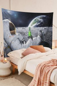 Handmade-Astronaut-On-The-Moon-Drinking-beer-Tapestry-01