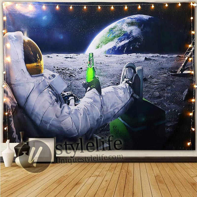 Handmade Astronaut On The Moon Drinking beer Tapestry