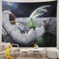 Handmade-Astronaut-On-The-Moon-Drinking-beer-Tapestry