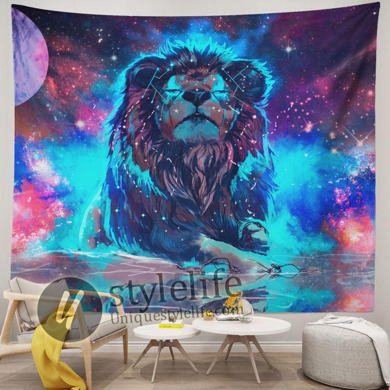 Handmade Starry Fantasy Galaxy Lion Tapestry