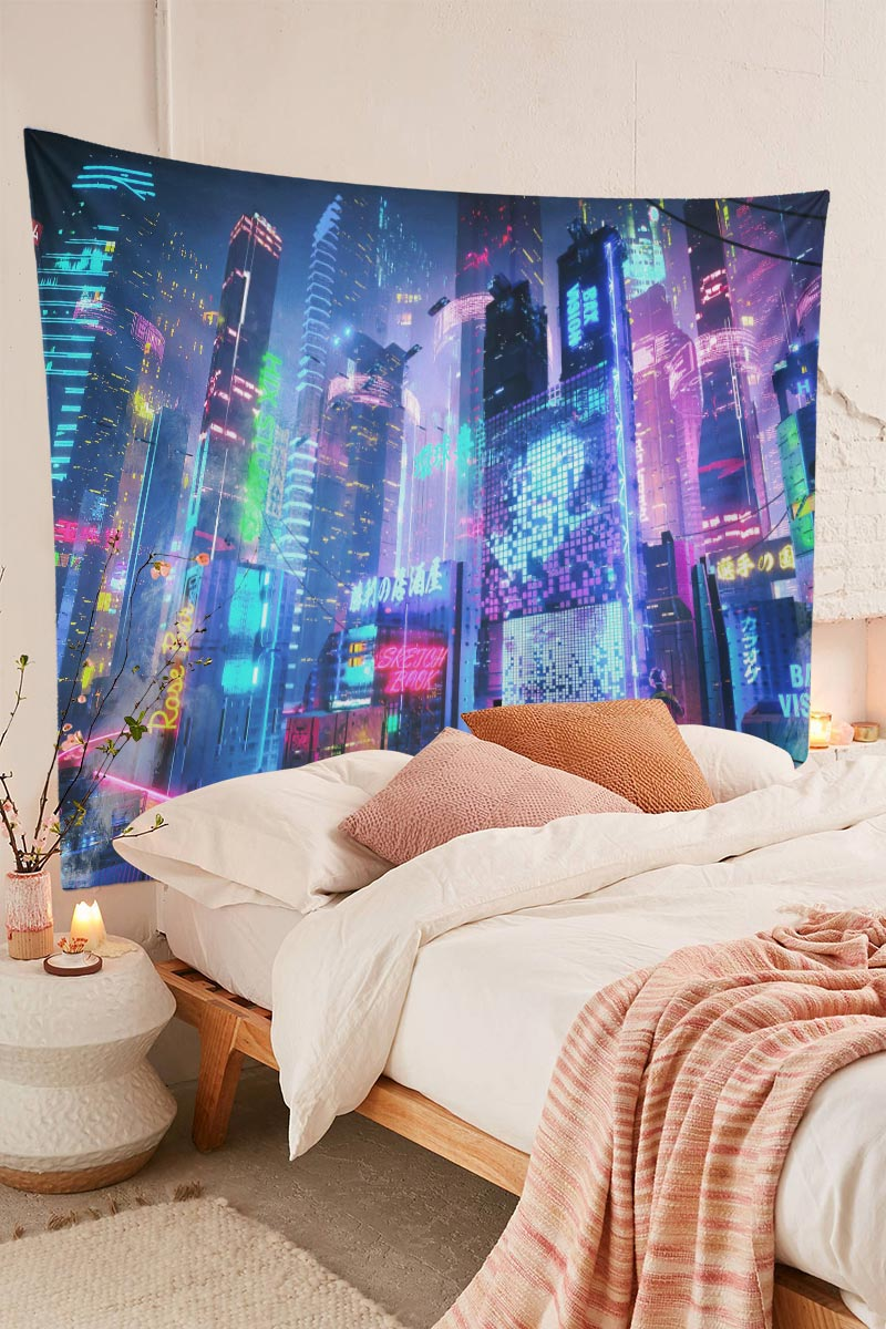 Japanese Psychedelic Tapestry Cyber Punk Cityscape Wall Decor