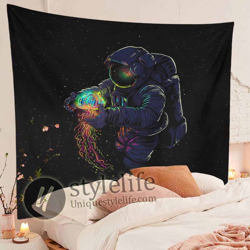 Large Astronaut Jellyfish Tapestry Trippy Space Wall Galaxy Wall Hanging