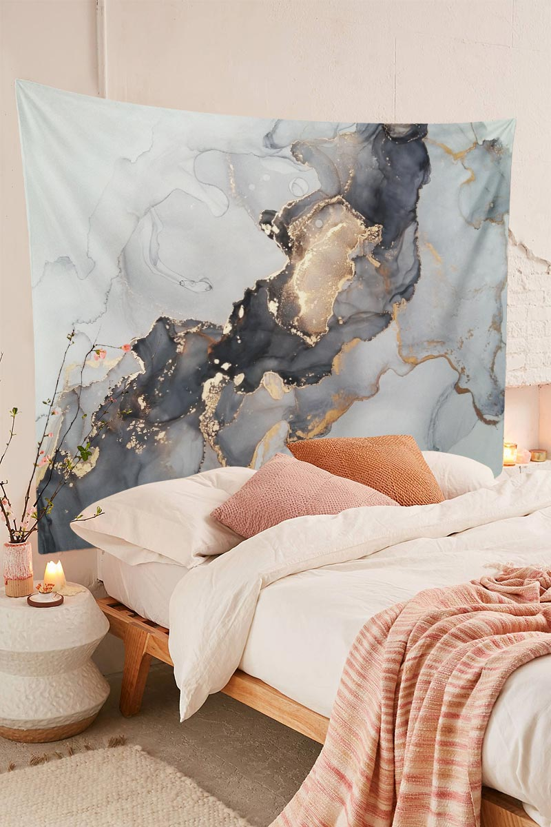 Marble Abstract Luxury Texture Dark Gold Tapestry
