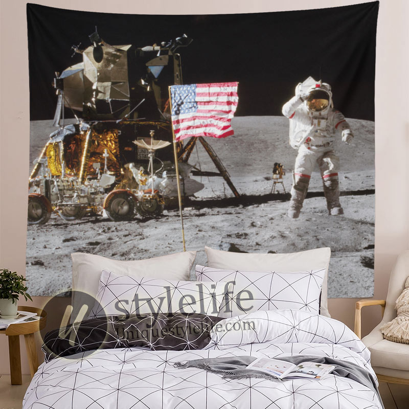 Moon Landing Astronaut Tapestry On Lunar Surface USA Flag