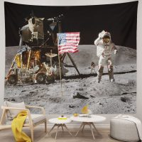Moon-Landing-Astronaut-Tapestry-On-Lunar-Surface-USA-Flag