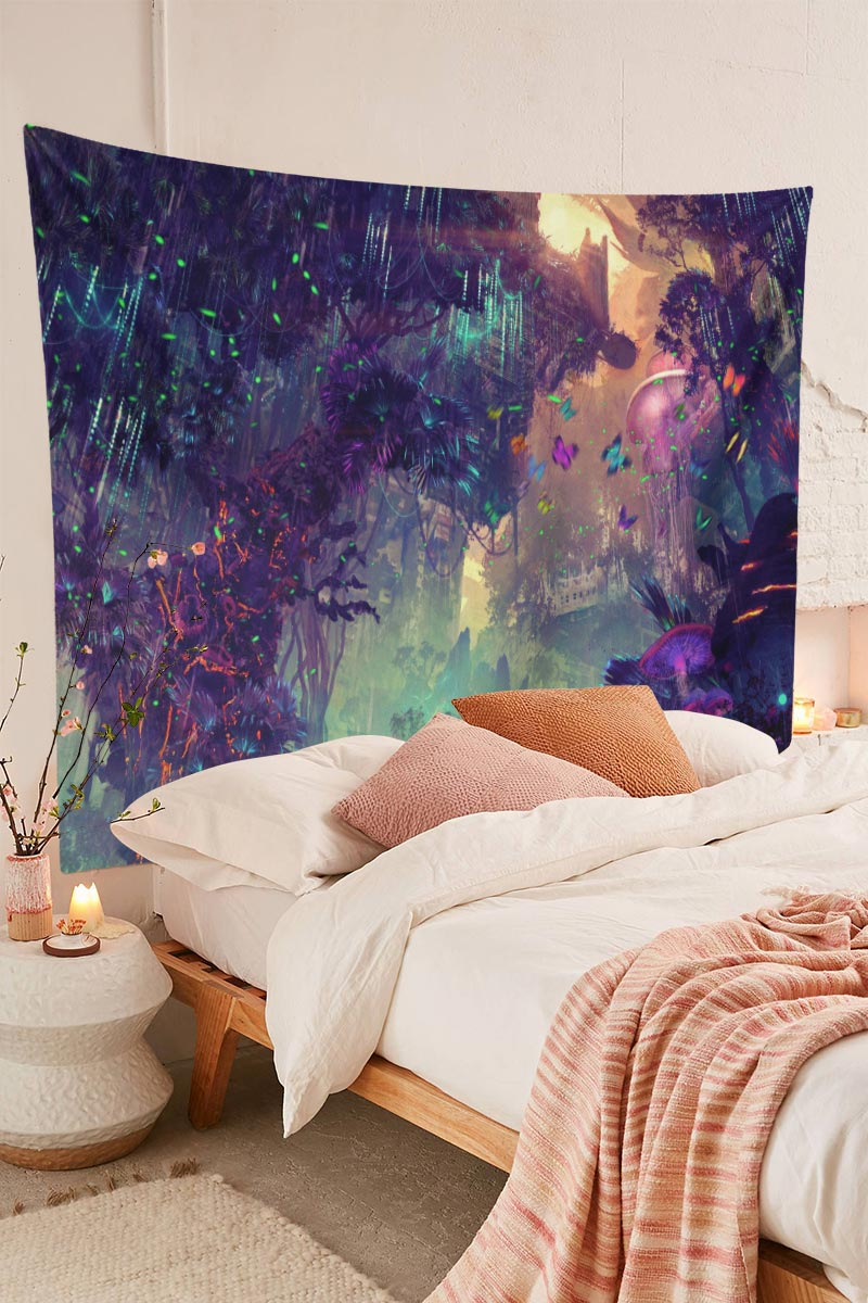 Psychedelic Forest Mushroom Theme Background Trippy Tapestry