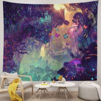 Psychedelic-Forest-Mushroom-Theme-Background-Trippy-Tapestry