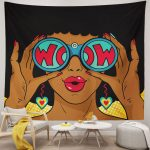 Sexy African Woman Surprised With Open Mouth Tapestry