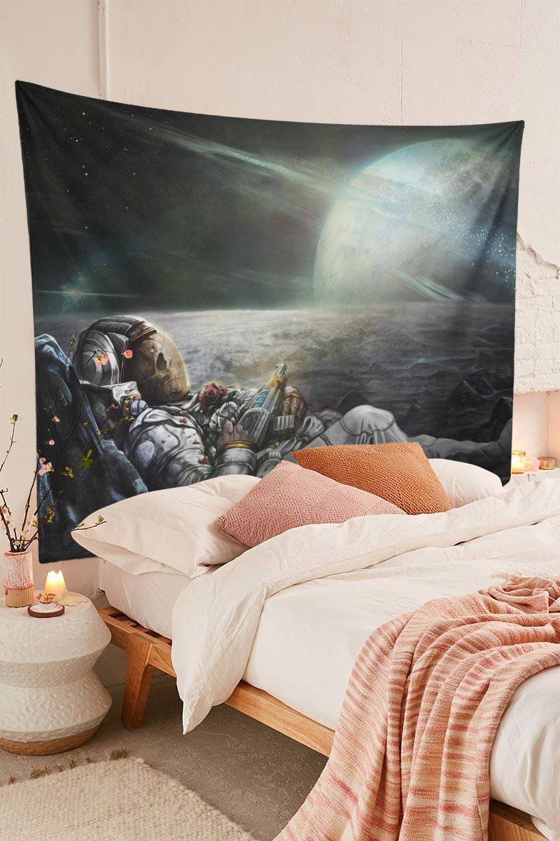 Space Galaxy Trippy Skull Astronaut Tapestry Bedroom Room Decor
