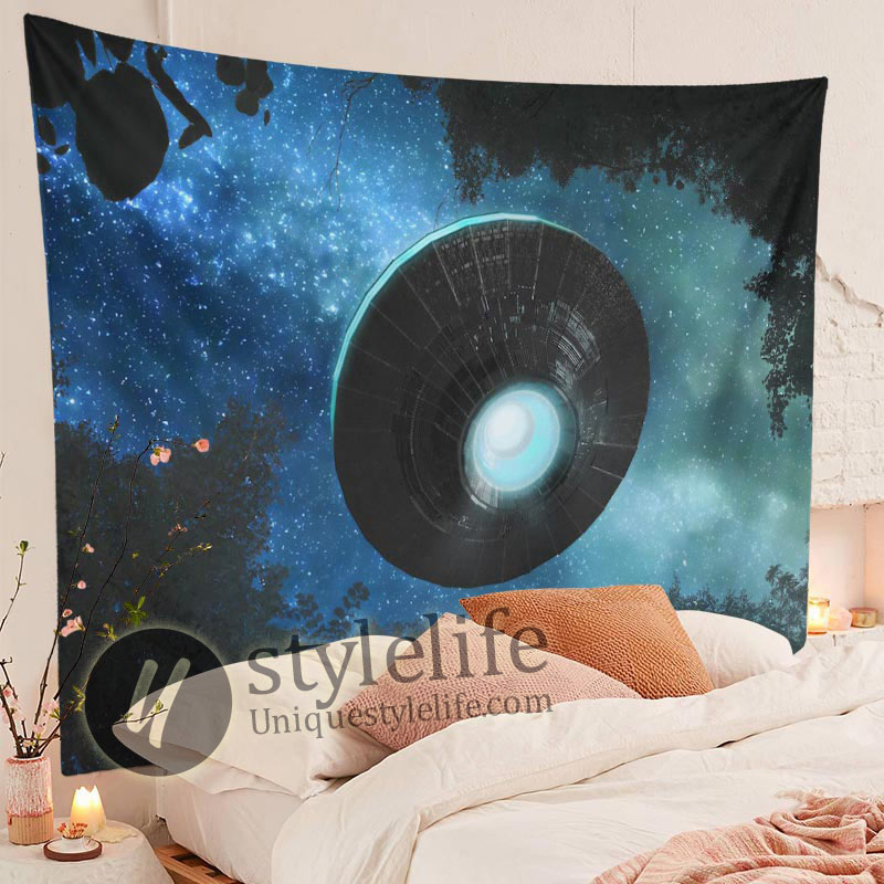 Spaceship Tapestry Alien UFO Flying Blue Starry Sky Forest Tapestry