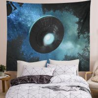 Spaceship-Tapestry-Alien-UFO-Flying-Blue-Starry-Sky-Forest-Tapestry-03