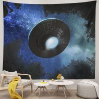 Spaceship-Tapestry-Alien-UFO-Flying-Blue-Starry-Sky-Forest-Tapestry