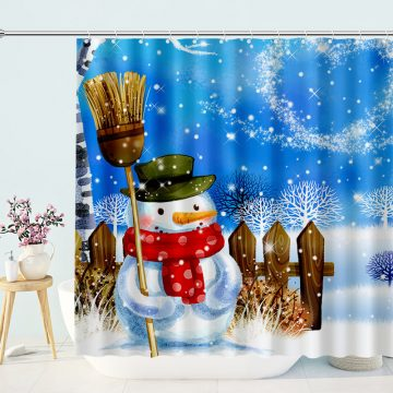 A Lovely Snowman Shower Curtain