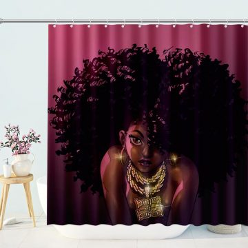 African American Black Girl Shower Bathroom Curtain