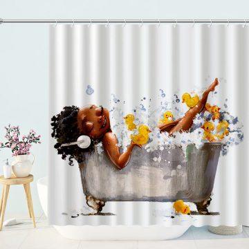African American Cute Girls Bathing Fabric Shower Curtain