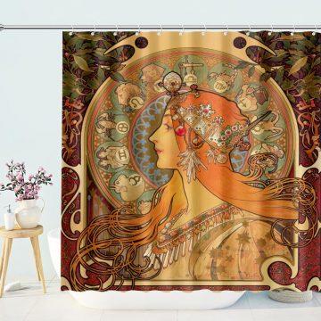 Alphonse Mucha's Zodiac Shower Curtain