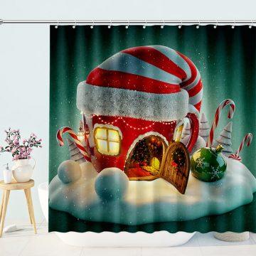Amazing Fairy Christmas House Shower Curtains