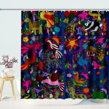 Amazing Multicoloured Mexican Shower Curtain