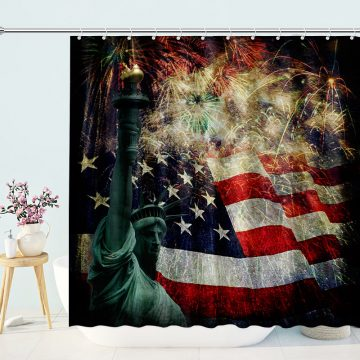 American Flag Fireworks Statue Of Liberty Shower Curtain