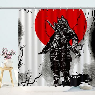 Army General Shower Curtain Samurai Japanese Style Home Decor