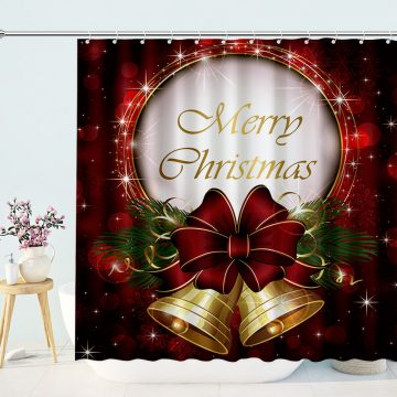 Bell Shower Curtain With Gold Snowflakes Merry Christmas Holiday