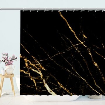 Black Gold Marble Waterproof Polyester Bath Curtian