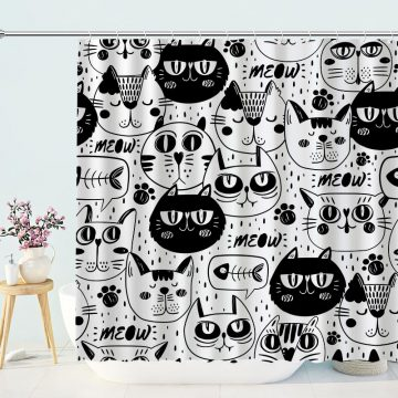 Black and White Meow Cat Shower Curtain