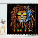 Bob Marley Rasta Lion Art for Reggae Lover Shower Curtain