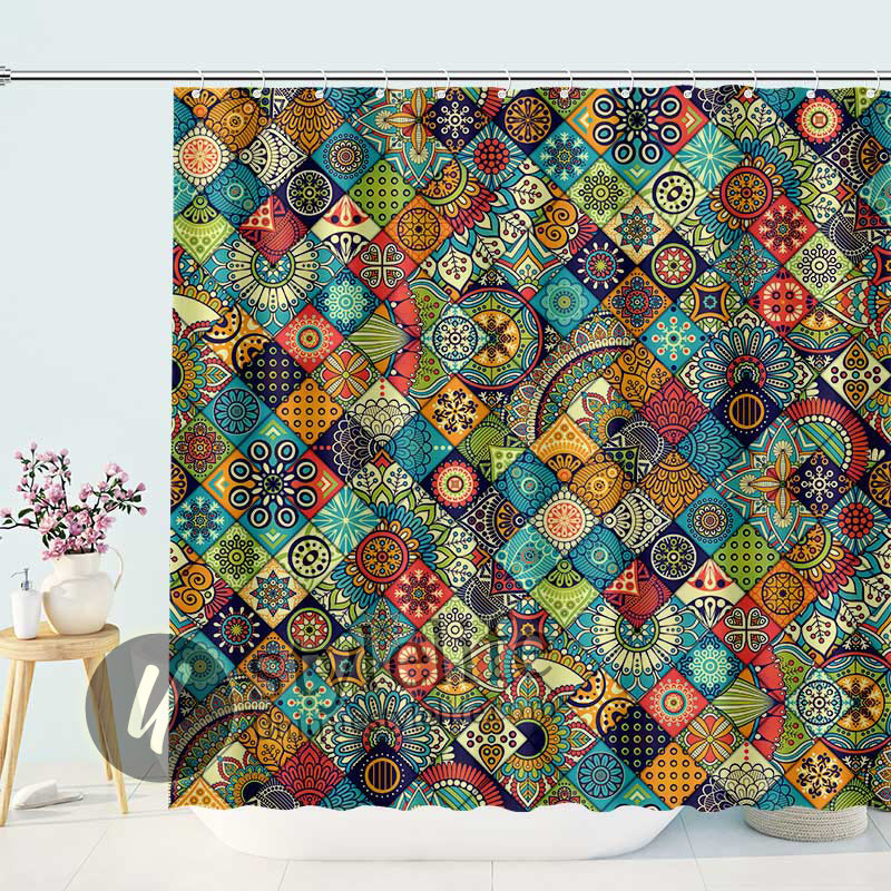 Bohemian Geometric Pattern Ornamental Floral Folk Art Abstract Shower Curtains