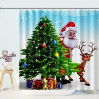 Cartoon-Santa-And-Reindeer-Shower-Curtain-1