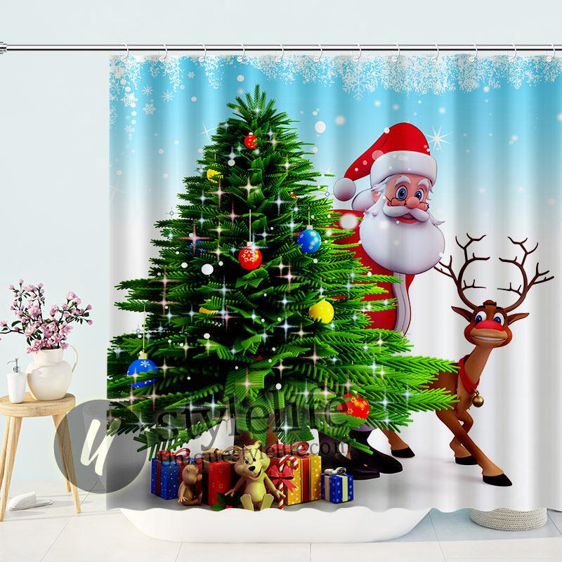 Cartoon Santa And Reindeer Shower Curtain