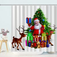 Cartoon-Santa-And-Reindeer-Shower-Curtain-2