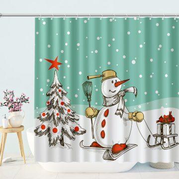 Cartoon Snowman Skating Shower Curtain