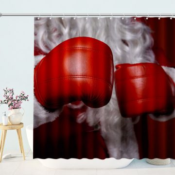 Christmas Santa Claus Wears Boxing Gloves Shower Curtain