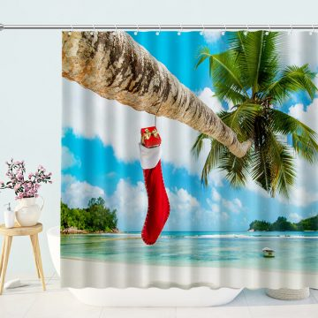 Christmas-Stockings-Filled-With-Gifts-Hung-On-The-Tree-Shower-Curtains