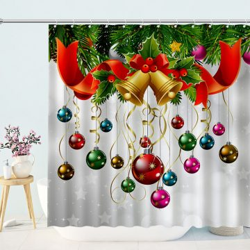 Christmas Tree Hung Red Gold Christmas Balls Shower Curtains
