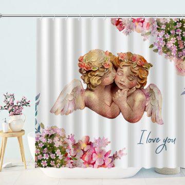 Cute Angels In Heaven Cherub Bath Curtain