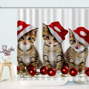 Cute Cat in Christmas Hat Shower Curtain