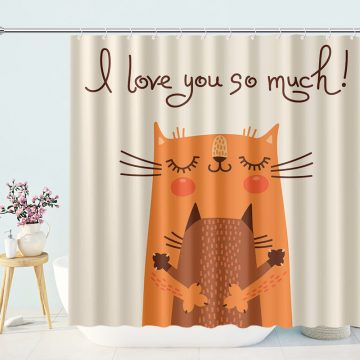Cute Funny Shower Curtain Loving Heart with Family Cats