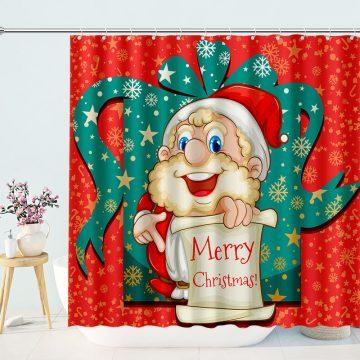 Cute Santa Merry Christmas Shower Curtain