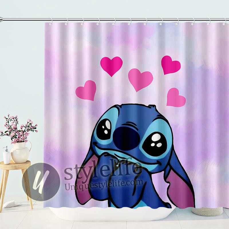 Cute Stitch In Love Shower Curtains