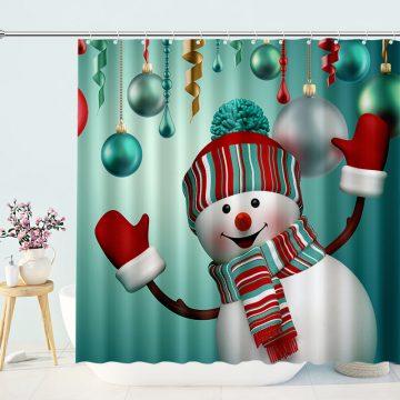 Delightful Snowman Shower Curtain