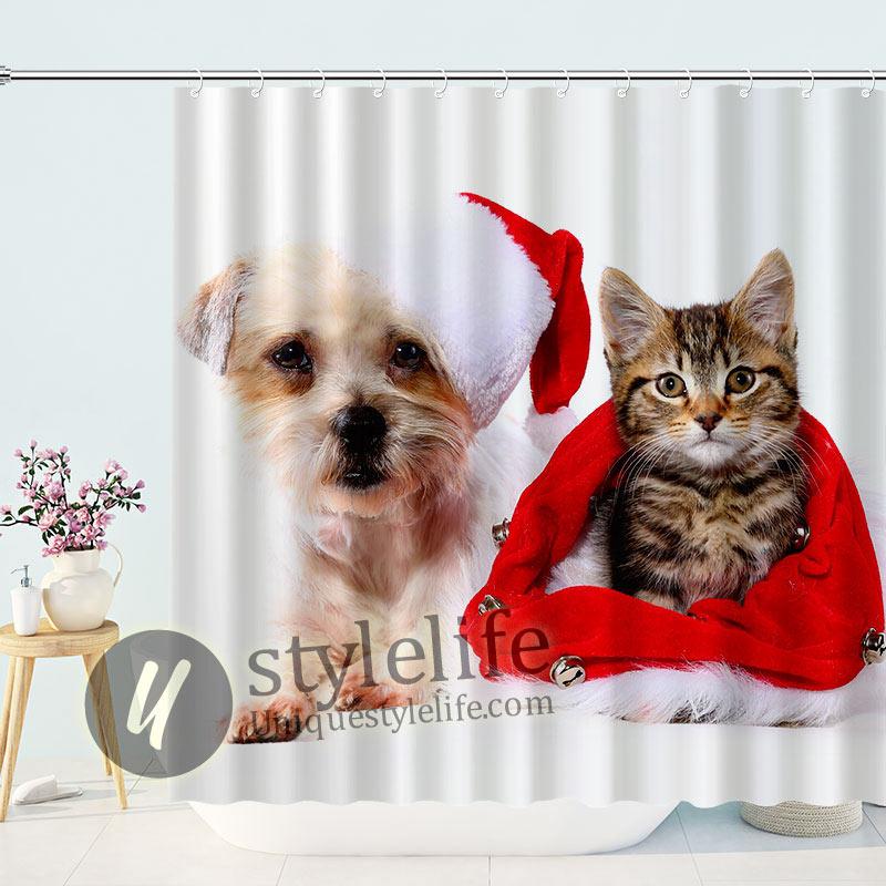 Dog Cat Kitens Wearing Santa Hat Shower Curtain
