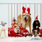 Dog Christmas Shower Curtains for Bathroom